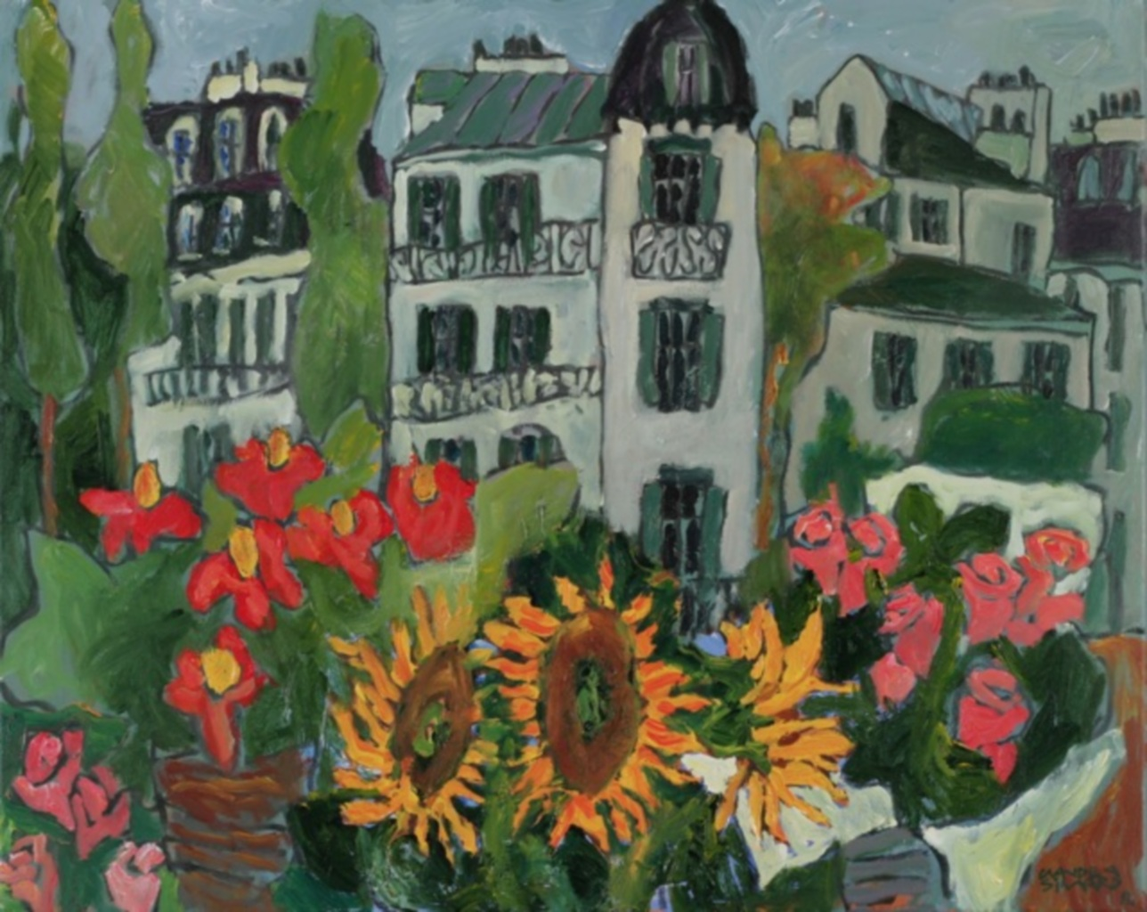 Paris with sunflowers