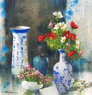 Porcelaines et fleurs diverses